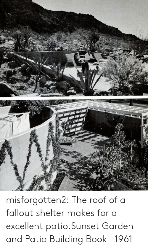 shelter: misforgotten2:  The roof of a fallout shelter makes for a excellent patio.Sunset Garden and Patio Building Book   1961
