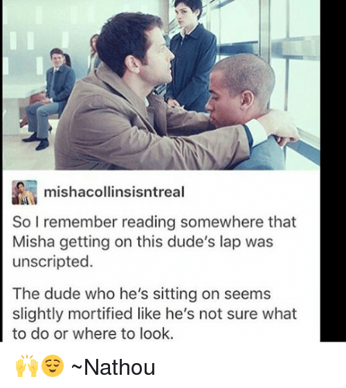 Dude, Memes, and 🤖: mishacollinsisntreal  So I remember reading somewhere that  Misha getting on this dude's lap was  unscripted.  The dude who he's sitting on seems  slightly mortified like he's not sure what  to do or where to look. 🙌😌 ~Nathouツ