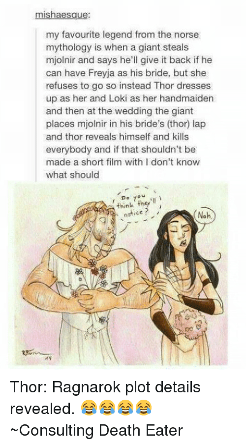 Memes, Death, and Dress: mishaesque:  my favourite legend from the norse  mythology is when a giant steals  mjolnir and says he'll give it back if he  can have Freyja as his bride, but she  refuses to go so instead Thor dresses  up as her and Loki as her handmaiden  and then at the wedding the giant  places mjolnir in his bride's (thor) lap  and thor reveals himself and kills  everybody and if that shouldn't be  made a short film with I don't know  what should  7  think they'll  notice  Noh Thor: Ragnarok plot details revealed. 😂😂😂😂 ~Consulting Death Eater