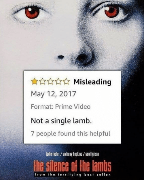 lamb: Misleading  May 12, 2017  Format: Prime Video  Not a single lamb.  7 people found this helpful  jodie fosler/ anhony hopkins/scoll glan  he silence of the lambs  from the terrifying best seller