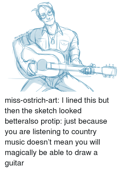 protip: miss-ostrich-art:  I lined this but then the sketch looked betteralso protip: just because you are listening to country music doesn't mean you will magically be able to draw a guitar