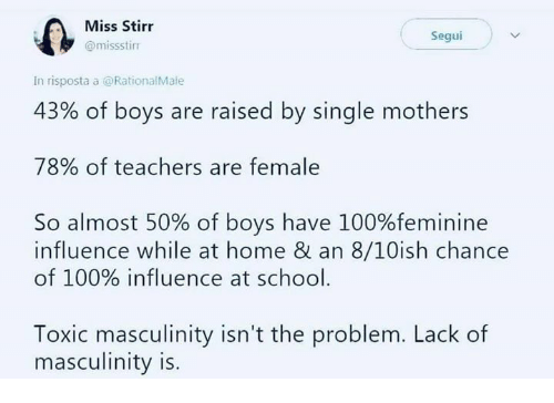 Anaconda, Memes, and School: Miss Stirr  @missstinr  Segui  In risposta a @RationalMale  43% of boys are raised by single mothers  78% of teachers are female  So almost 50% of boys have 100%feminine  influence while at home & an 8/10ish chance  of 100% influence at school  Toxic masculinity isn't the problem. Lack of  masculinity is.