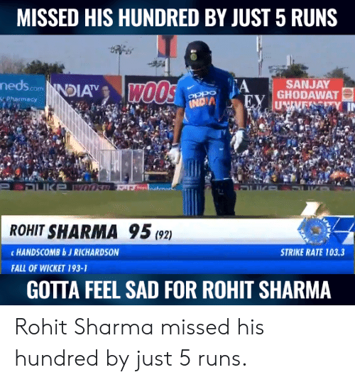 Richardson: MISSED HIS HUNDRED BY JUST 5 RUNS  nedscomNDIA  A  SANJAY  ROHIT SHARMA 95(2)  c HANDSCOMBbJ RICHARDSON  STRIKE RATE 103.3  FALL OF WICKET 193-1  GOTTA FEEL SAD FOR ROHIT SHARMA Rohit Sharma missed his hundred by just 5 runs.