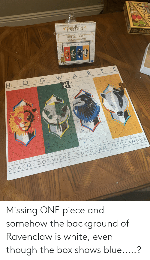 ravenclaw: Missing ONE piece and somehow the background of Ravenclaw is white, even though the box shows blue.....?