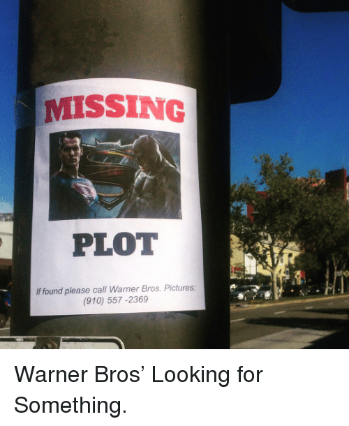 warner bros pictures: MISSING  PLOT  If found please call Warner Bros. Pictures:  (910) 557-2369 <p>Warner Bros' Looking for Something.</p>