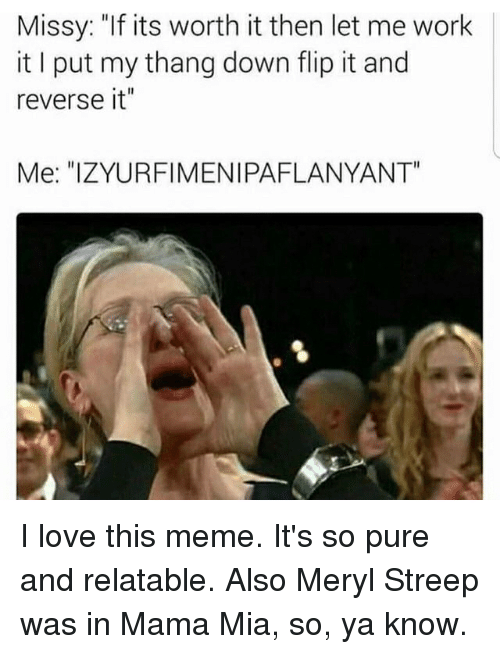 "Love, Meme, and Memes: Missy: ""If its worth it then let me work  it put my thang down flip it and  reverse it""  Me: ""IZYURFIMENIPAFLANYANT"" I love this meme. It's so pure and relatable. Also Meryl Streep was in Mama Mia, so, ya know."