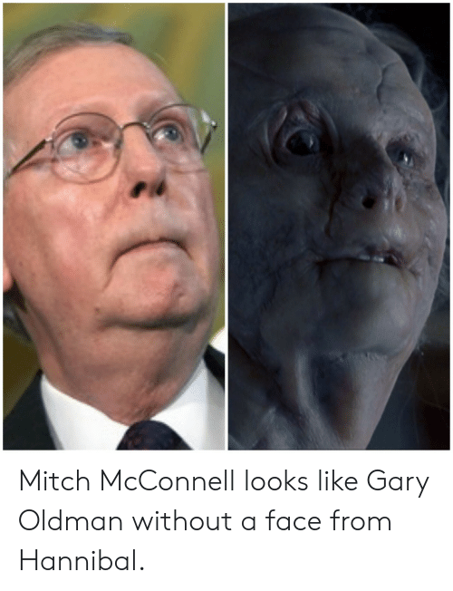 Mitch McConnell: Mitch McConnell looks like Gary Oldman without a face from Hannibal.