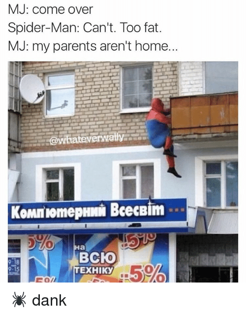 Mj come over spider man can 39 t too fat mj my parents aren 39 t for How can i stop spiders from coming in my house