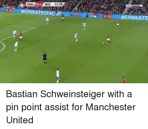 Memes, Bastian Schweinsteiger, and 🤖: MNU  HEMIRATESFACHP  HEMIRATE Bastian Schweinsteiger with a pin point assist for Manchester United
