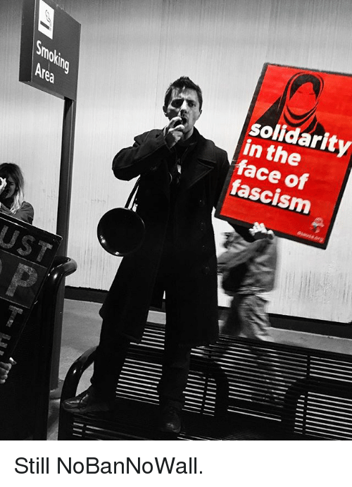 Memes, Fascism, and 🤖: mO  solidarity  in the  face of  fascism  fea  UST Still NoBanNoWall.