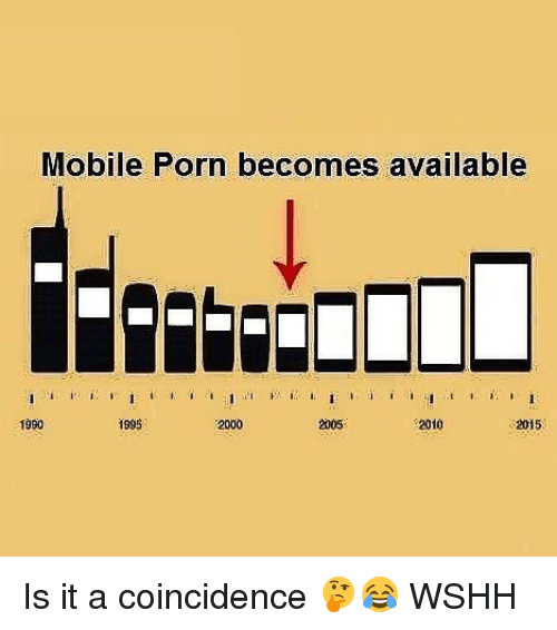Memes, Wshh, and Mobile: Mobile Porn becomes available  1990  1995  2000  2005  2010  2015 Is it a coincidence 🤔😂 WSHH