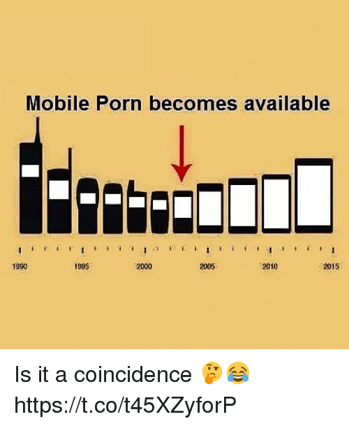 Mobile, Porn, and Coincidence: Mobile Porn becomes available  1990  1995  2000  2005  2010  2015 Is it a coincidence 🤔😂 https://t.co/t45XZyforP