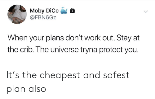 the universe: Moby Dic  @FBN6GZ  When your plans don't work out. Stay at  the crib. The universe tryna protect you.  <> It's the cheapest and safest plan also