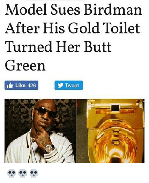 Birdman, Butt, and Memes: Model Sues Birdman  After His Gold Toilet  Turned Her Butt  Green  Like 426  Tweet 💀💀💀