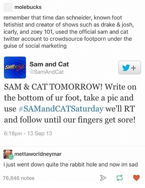 rabbit hole: molebucks  remember that time dan schneider, known foot  fetishist and creator of shows such as drake & josh,  icarly, and zoey 101, used the official sam and cat  twitter account to crowdsource footporn under the  guise of social marketing  Sam and Cat  @Sam And Cat  SAM & CAT TOMORROW! Write on  the bottom of ur foot, take a pic and  use #SAMandCATSaturday we'll RT  and follow until our fingers get sore!  6:18pm 13 Sep 13  mettaworldneymar  i just went down quite the rabbit hole and now im sad  76,846 notes