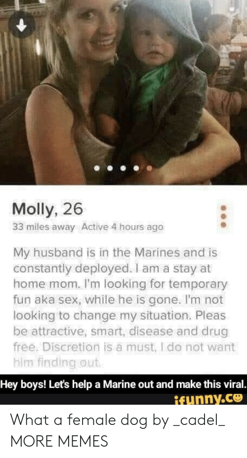 Marines: Molly, 26  33 miles away Active 4 hours ago  My husband is in the Marines and is  constantly deployed. I am a stay at  home mom. I'm looking for temporary  fun aka sex, while he is gone. I'm not  looking to change my situation. Pleas  be attractive, smart, disease and drug  free. Discretion is a must, I do not want  him finding out  Hey boys! Let's help a Marine out and make this viral.  ifunny.co What a female dog by _cadel_ MORE MEMES