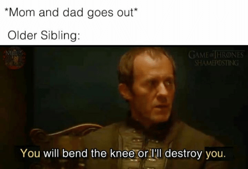 Game of Thrones: Mom and dad goes out*  Older Sibling:  GAME of THRONES  SHAMEPOSTING  You will bend the knee or lll destroy you.
