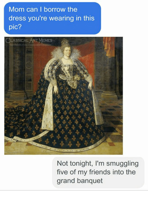 The Dress: Mom can I borrow the  dress you're wearing in this  pic?  CLASSICAL ART MEMES  ssicalart  Not tonight, I'm smuggling  five of my friends into the  grand banquet