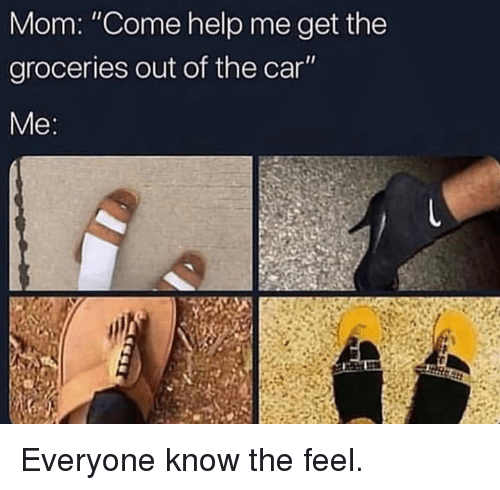 """The Feel: Mom: """"Come help me get the  groceries out of the car  Me Everyone know the feel."""