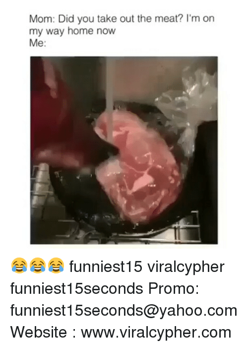 Funny, Home, and Yahoo: Mom: Did you take out the meat? I'm on  my way home now  Me 😂😂😂 funniest15 viralcypher funniest15seconds Promo: funniest15seconds@yahoo.com Website : www.viralcypher.com