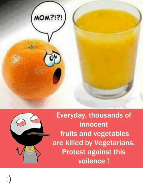 Memes, Moms, and Protest: MOM?!?!  Everyday, thousands of  innocent  fruits and vegetables  are killed by Vegetarians.  Protest against this  voilence :)