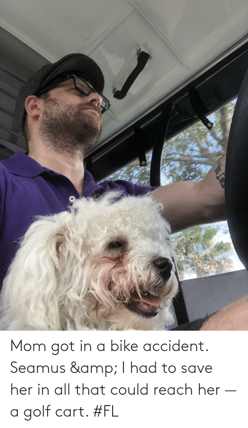 golf cart: Mom got in a bike accident. Seamus & I had to save her in all that could reach her —a golf cart. #FL