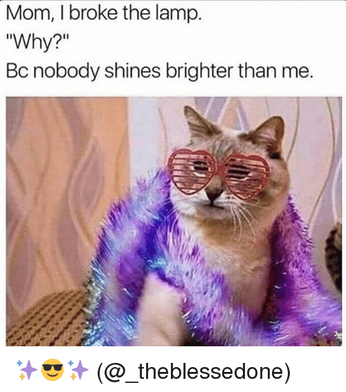 """Memes, Mom, and 🤖: Mom, I broke the lamp.  """"Why?""""  Bc nobody shines brighter than me. ✨😎✨ (@_theblessedone)"""