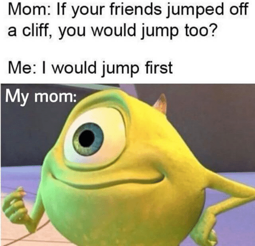 Cliff: Mom: If your friends jumped off  a cliff, you would jump too?  Me: I would jump first  My mom:
