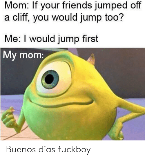 Cliff: Mom: If your friends jumped off  a cliff, you would jump too?  Me: I would jump first  My mom: Buenos dias fuckboy