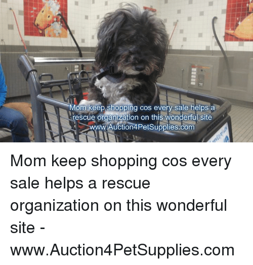 Memes, Shopping, and Helps: Mom keep shopping cos every sale helps a  rescue organzation on this wongerul site  Auction4PetSupplies.com  w. Mom keep shopping cos every sale helps a rescue organization on this wonderful site - www.Auction4PetSupplies.com