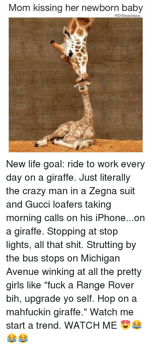 """Gucci, Memes, and Watch Me: Mom kissing her newborn baby  @Drsmashlove New life goal: ride to work every day on a giraffe. Just literally the crazy man in a Zegna suit and Gucci loafers taking morning calls on his iPhone...on a giraffe. Stopping at stop lights, all that shit. Strutting by the bus stops on Michigan Avenue winking at all the pretty girls like """"fuck a Range Rover bih, upgrade yo self. Hop on a mahfuckin giraffe."""" Watch me start a trend. WATCH ME 😍😂😂😂"""