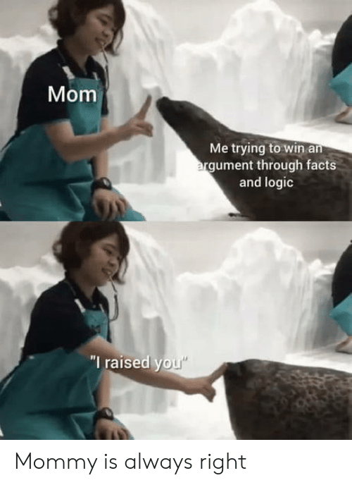"Always Right: Mom  Me trying to win an  argument through facts  and logic  ""I raised you"" Mommy is always right"