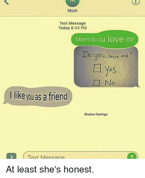Love, Memes, and Text: Mom  Text Message  Today 8:44 PM  Mom do you love me?  2S  No  I like you as a friend  @sober.flamingo  Text Message At least she's honest.