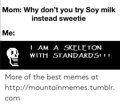 Soy: Mom: Why don't you try Soy milk  instead sweetie  Me:  I AM A SKELETON  WITH STANDARDS! More of the best memes at http://mountainmemes.tumblr.com