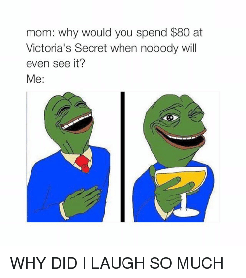 Victoria Secret: mom: why would you spend $80 at  Victoria's Secret when nobody will  even see it?  Me WHY DID I LAUGH SO MUCH