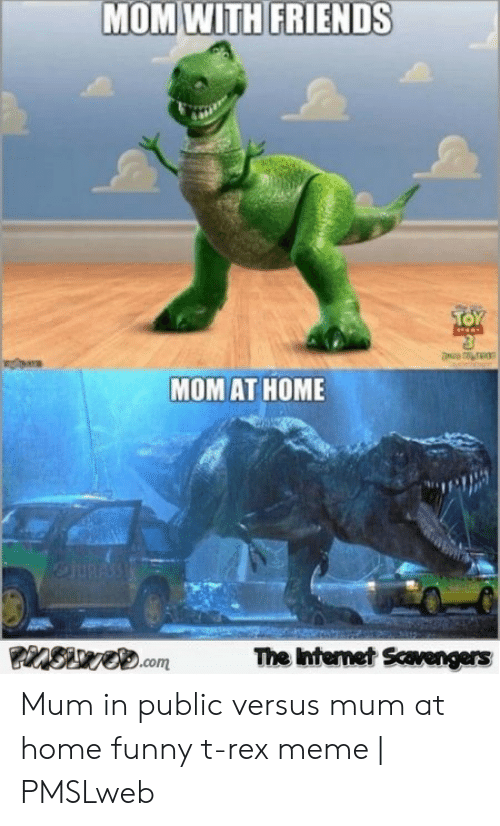 Pmslweb: MOM WITH FRIENDS  TOY  MOM AT HOME  eJURASS  The Internet Scavengers  PinSwe.com Mum in public versus mum at home funny t-rex meme | PMSLweb
