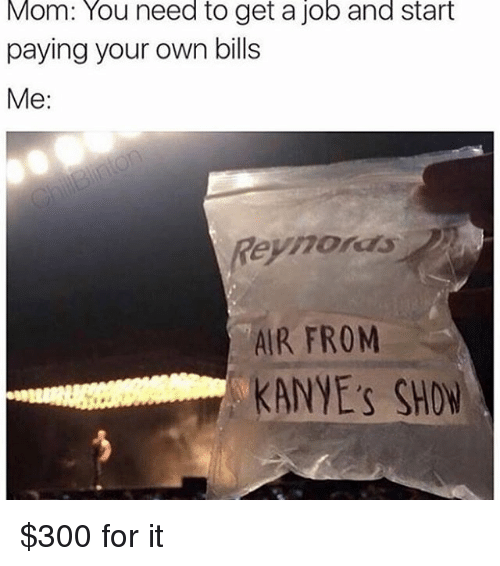 Memes, Mom, and Bills: Mom: You need to get a job and start  paying your own bills  Me:  Reyhors  AIR FROM  KANYE's SHOW $300 for it