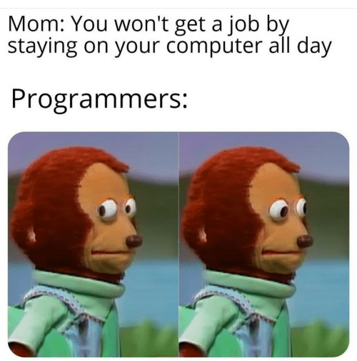 You Wont: Mom: You won't get a job by  staying on your computer all day  Programmers:
