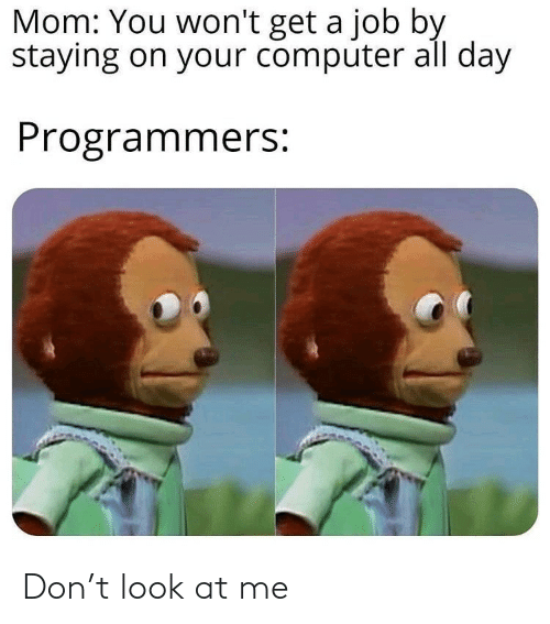 Computer: Mom: You won't get a job by  staying on your computer all day  Programmers: Don't look at me