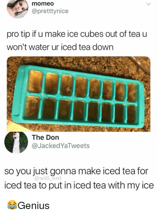 The Don: momeo  @pretttynice  pro tip if u make ice cubes out of tea u  won't water ur iced tea down  The Don  @JackedYaTweets  so you just gonna make iced tea for  iced tea to put in iced tea with my ice  @will ent 😂Genius