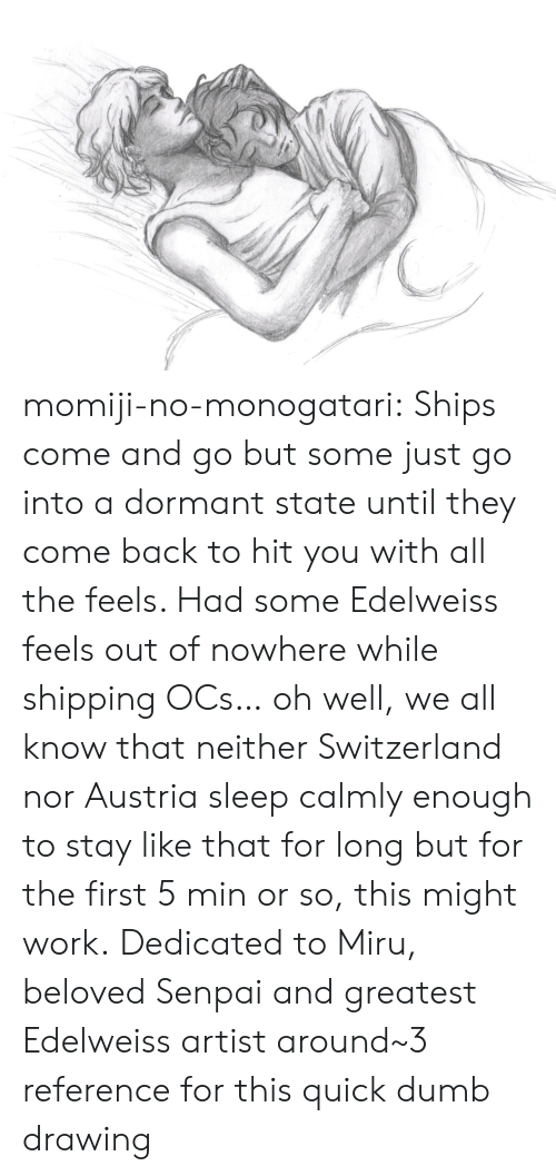Senpai: momiji-no-monogatari:  Ships come and go but some just go into a dormant state until they come back to hit you with all the feels. Had some Edelweiss feels out of nowhere while shipping OCs… oh well, we all know that neither Switzerland nor Austria sleep calmly enough to stay like that for long but for the first 5 min or so, this might work. Dedicated to Miru, beloved Senpai and greatest Edelweiss artist around~3 reference for this quick dumb drawing