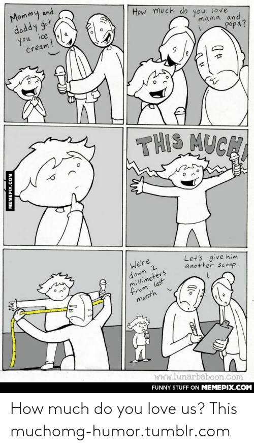 Him Another: Mommy and  daddy got,  How much do  you ice  Cream!  you  love  mama and  papa?  THIS MUCH  We're  down 2  millimeters  from last  month  Let's give him  another scoop.  wWw.lunarbaboon.com  FUNNY STUFF ON MEMEPIX.COM  MEMEPIX.COM How much do you love us? This muchomg-humor.tumblr.com