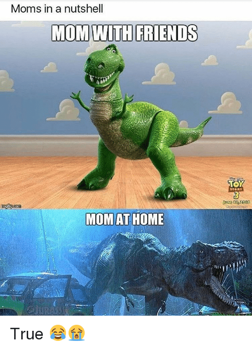 Friends, Memes, and Moms: Moms in a nutshell  MOM WITH FRIENDS  MOM AT HOME  TOY  STORY True 😂😭