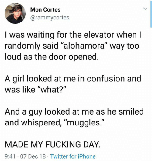 "cortes: Mon Cortes  @rammycortes  I was waiting for the elevator when I  randomly said ""alohamora"" way too  loud as the door opened  A girl looked at me in confusion and  was like ""what?'""  And a guy looked at me as he smiled  and whispered, ""muggles.""  MADE MY FUCKING DAY  9:41 07 Dec 18 Twitter for iPhone"