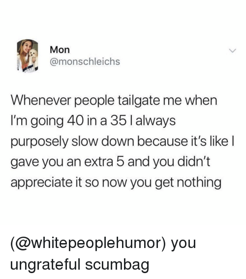 Tailgate: Mon  @monschleichs  Whenever people tailgate me when  I'm going 40 in a 35 I always  purposely slow down because it's like l  gave you an extra 5 and you didn't  appreciate it so now you get nothing (@whitepeoplehumor) you ungrateful scumbag