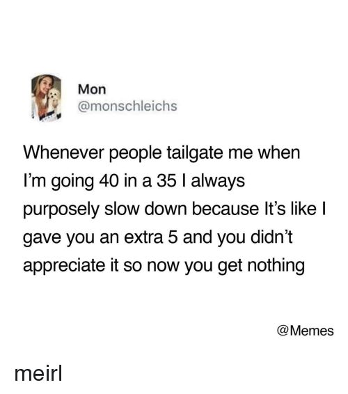 Tailgate: Mon  @monschleichs  Whenever people tailgate me when  I'm going 40 in a 35 l always  purposely slow down because lt's like l  gave you an extra 5 and you didn't  appreciate it so now you get nothing  @Memes meirl