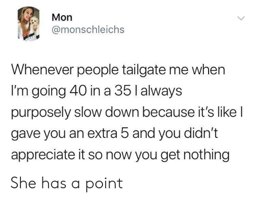 Tailgate: Mon  @monschleichs  Whenever people tailgate me when  I'm going 40 in a 35 l always  purposely slow down because it's like l  gave you an extra 5 and you didn't  appreciate it so now you get nothing She has a point