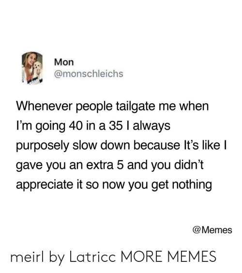Tailgate: Mon  @monschleichs  Whenever people tailgate me when  I'm going 40 in a 35 l always  purposely slow down because lt's like l  gave you an extra 5 and you didn't  appreciate it so now you get nothing  @Memes meirl by Latricc MORE MEMES