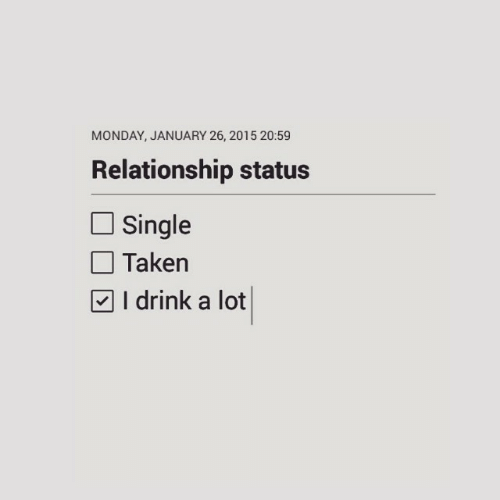 Relationship Status: MONDAY, JANUARY 26, 2015 20:59  Relationship status  Single  Taken  | I drink a lot