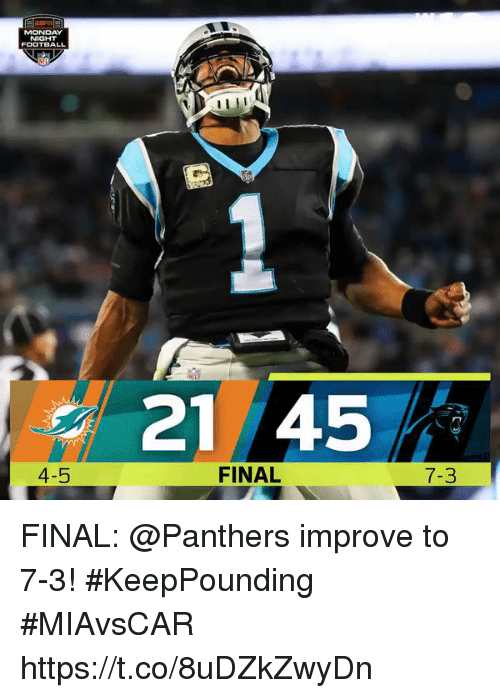 Memes, Panthers, and Monday: MONDAY  NIGHT  21 45  4-5  FINAL  7-3 FINAL: @Panthers improve to 7-3! #KeepPounding   #MIAvsCAR https://t.co/8uDZkZwyDn